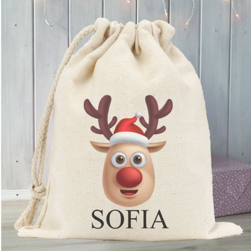 Personalised Santa Sack N3 - Cheeky Reindeer
